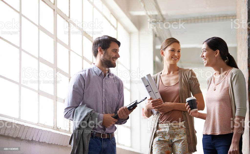Catching up before a meeting royalty-free stock photo