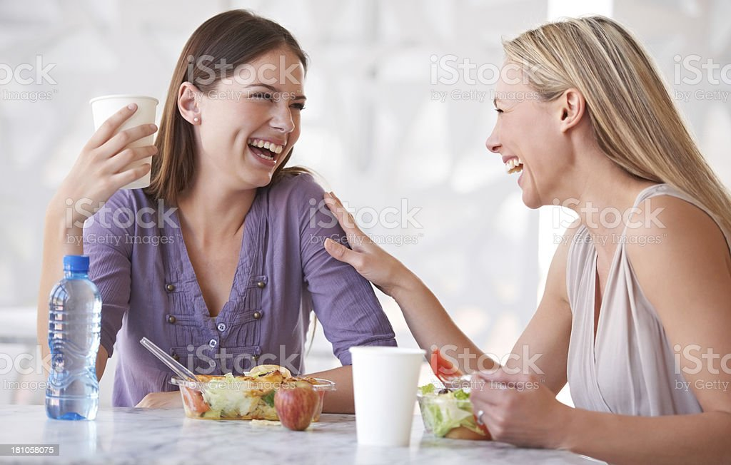 Catching up during lunch royalty-free stock photo