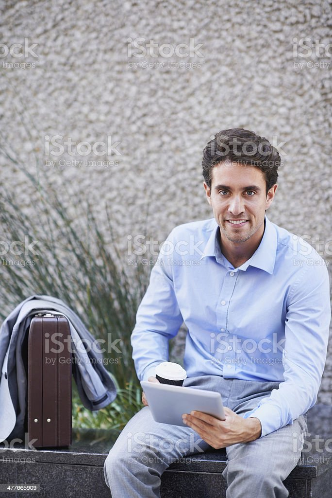 Catching up on his emails royalty-free stock photo