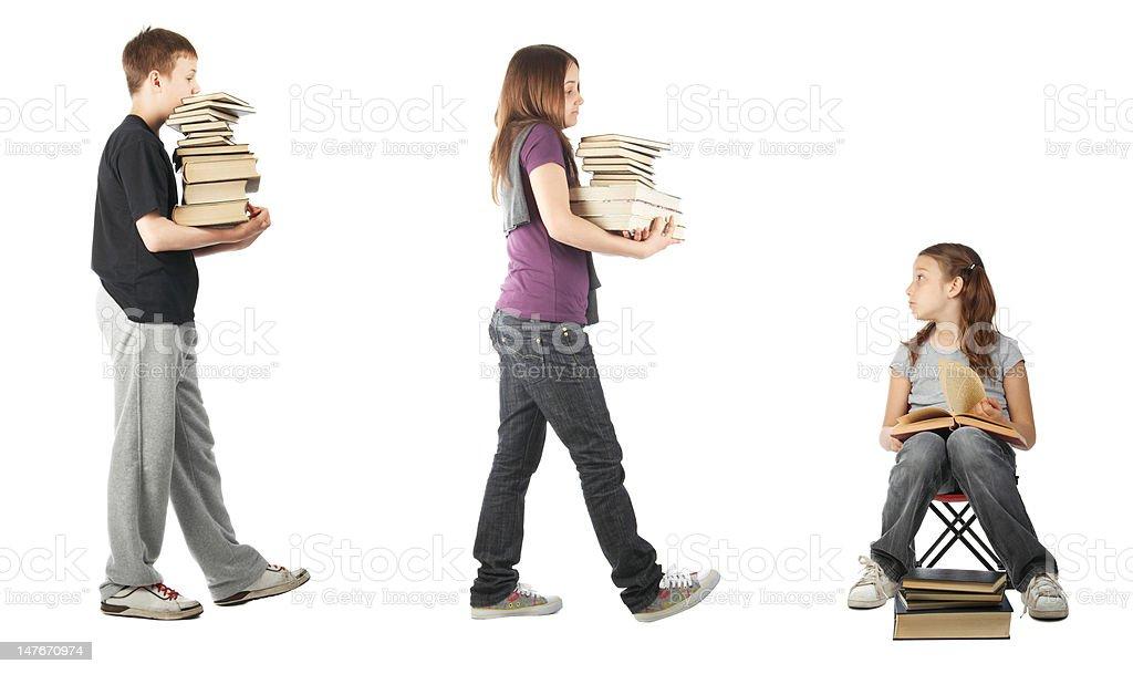 Catching up on homework stock photo