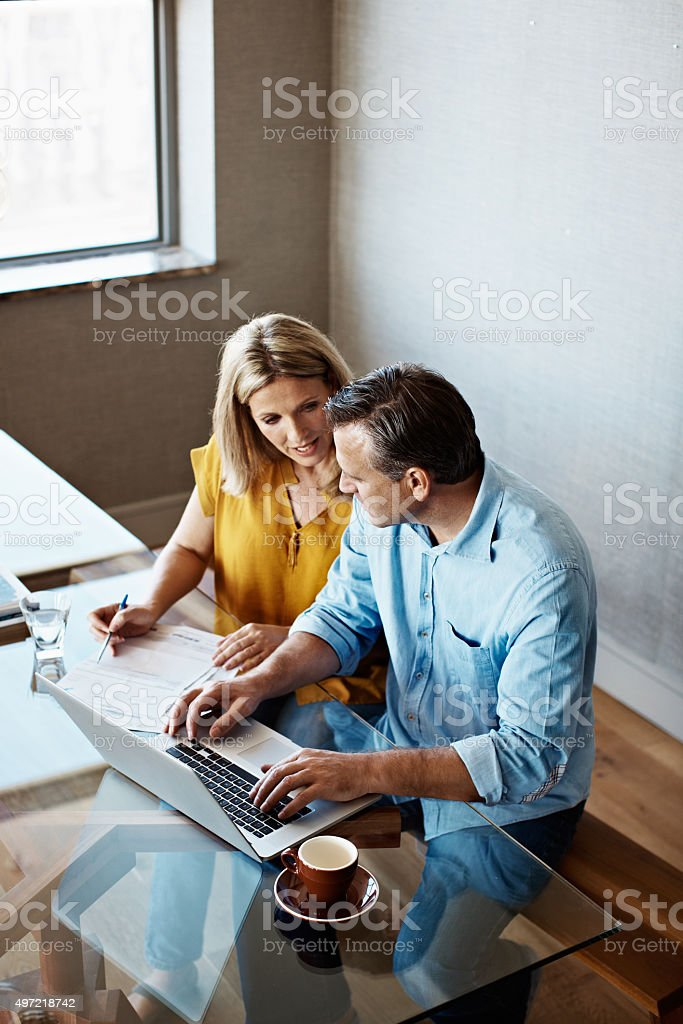 Catching up on the home finances stock photo