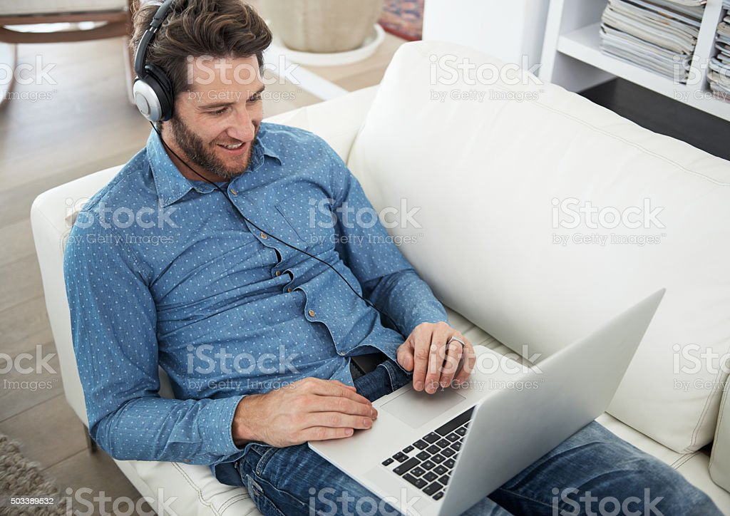Catching up on the latest music stock photo