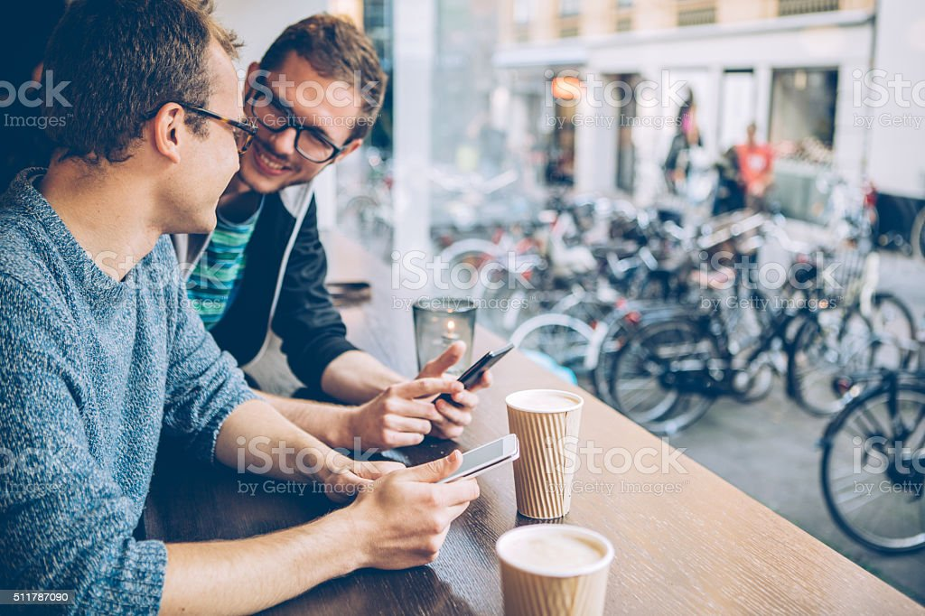 Catching up with some friends stock photo