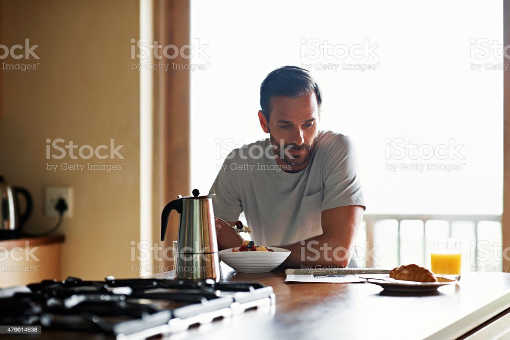 Catching up with the morning news stock photo