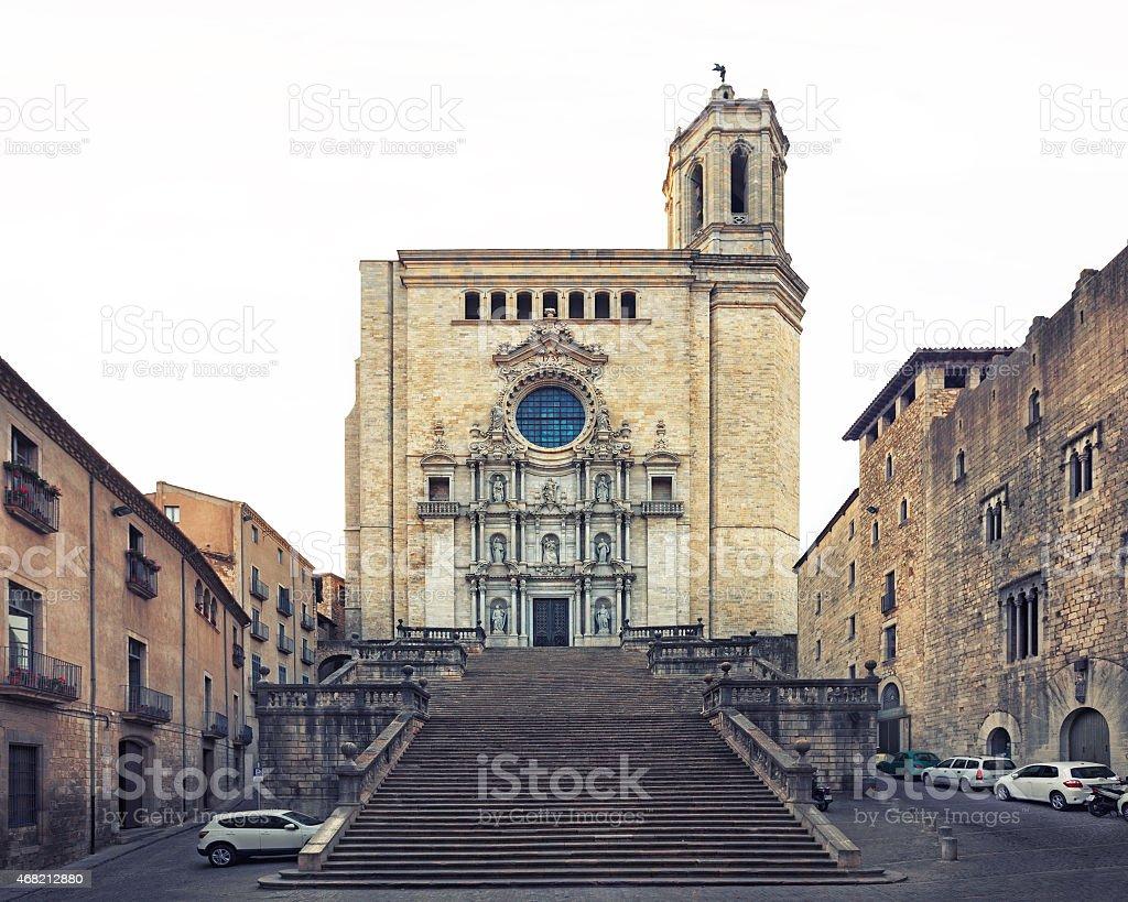 Catedral de Santa Maria Gerona, front view stock photo
