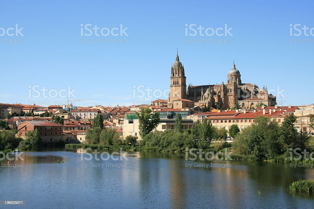 Catedral Nueva, Salamanca viewed from across the Rio Tormes stock photo