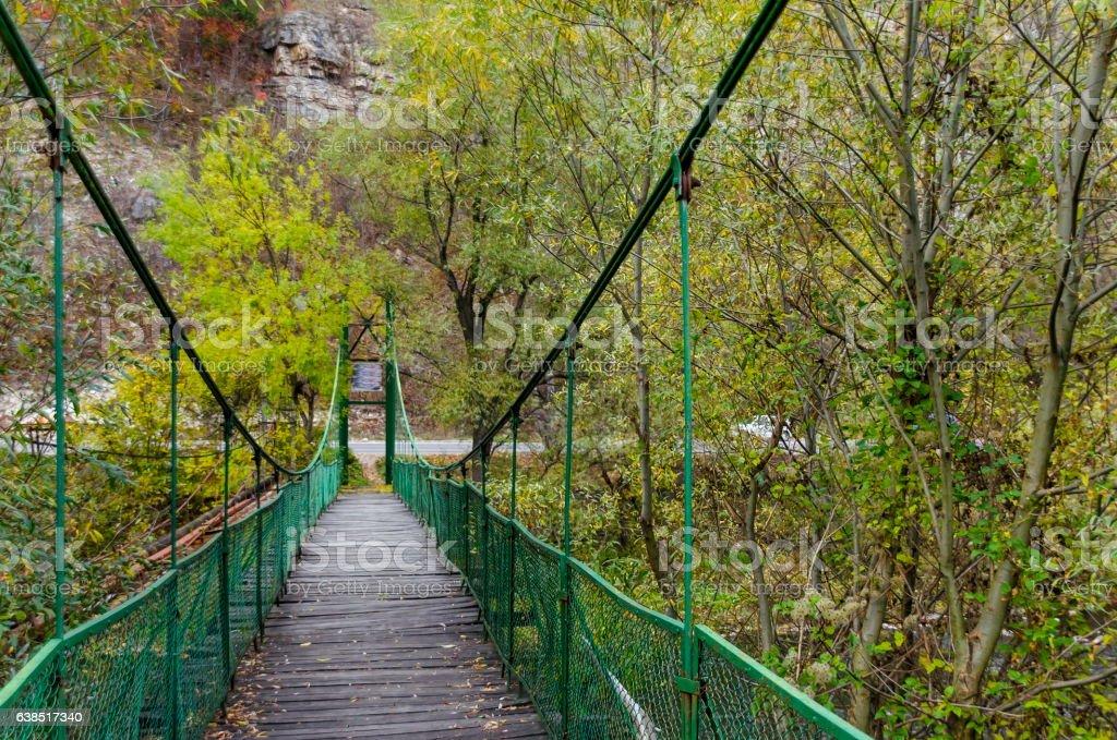 Catenary bridge over river Iskar in the autumn, Iskar defile stock photo