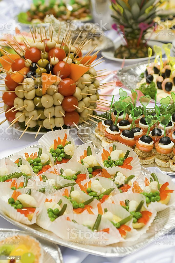 Catering buffet style - different light snack and sandwiches royalty-free stock photo