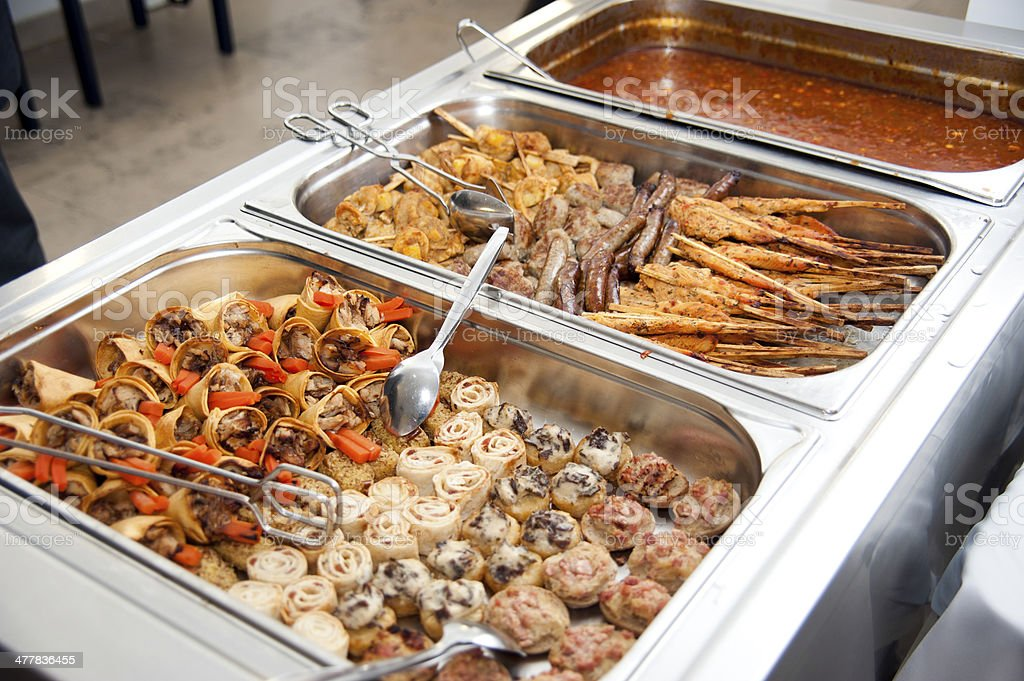 Catering buffet with self-service asian thai food stock photo