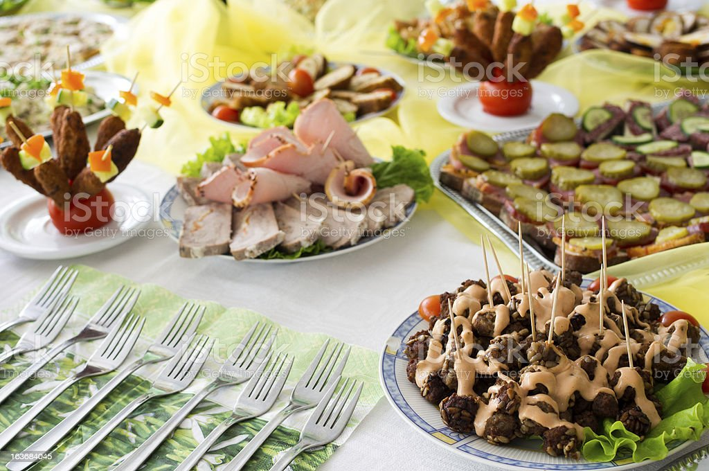 Catering food at a party royalty-free stock photo