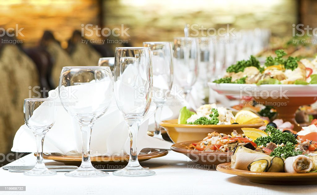 A catering food table presented for a party stock photo
