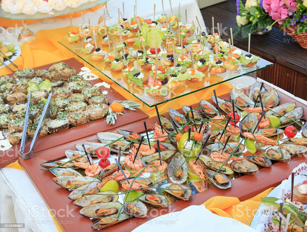 Catering food with shrimps stock photo