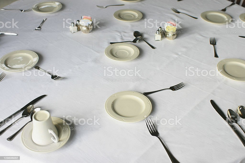 Catering Hall - Plates, Forks and Spoons stock photo