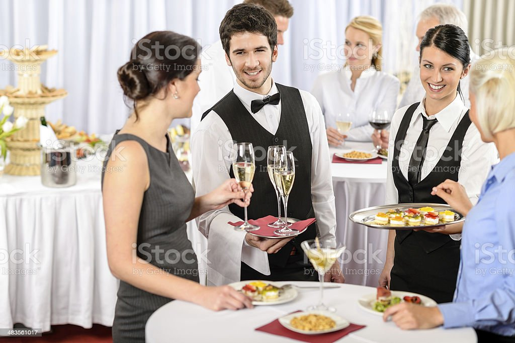 Catering service at company event offer food stock photo