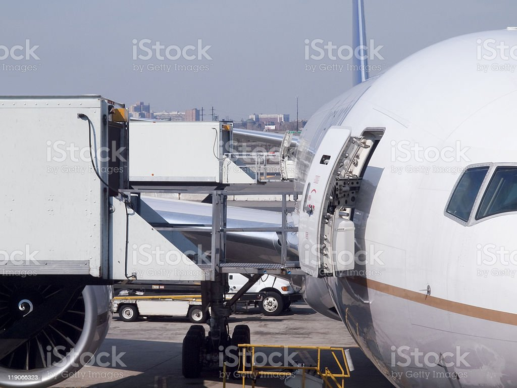 Catering Service for an Airplane stock photo
