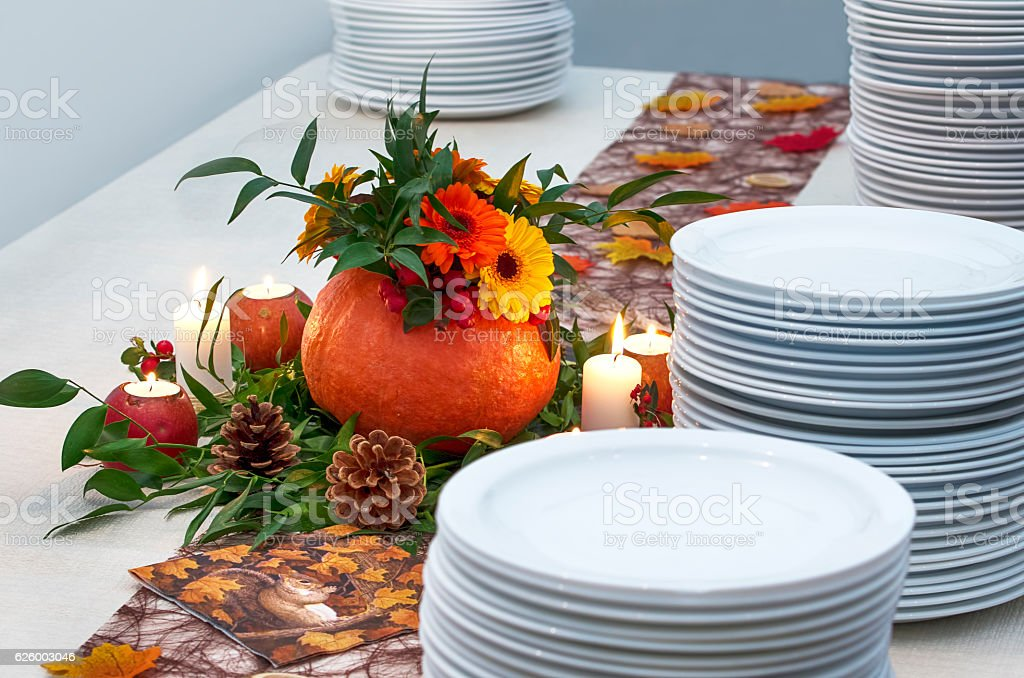 Catering service table set decoration royalty-free stock photo