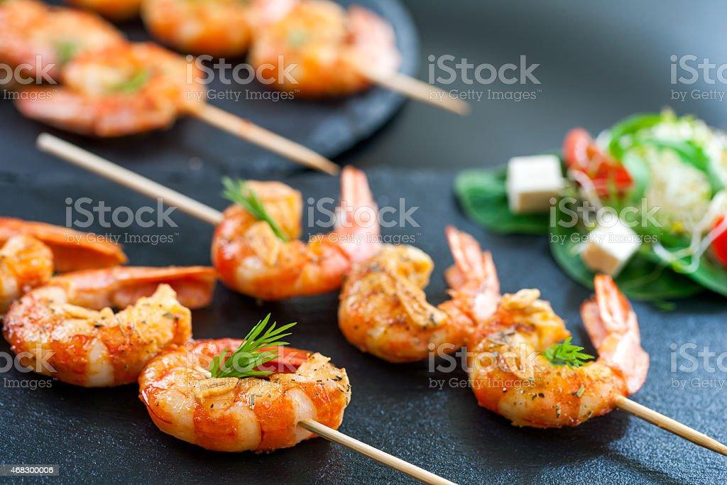 Catering shrimp brochettes. stock photo
