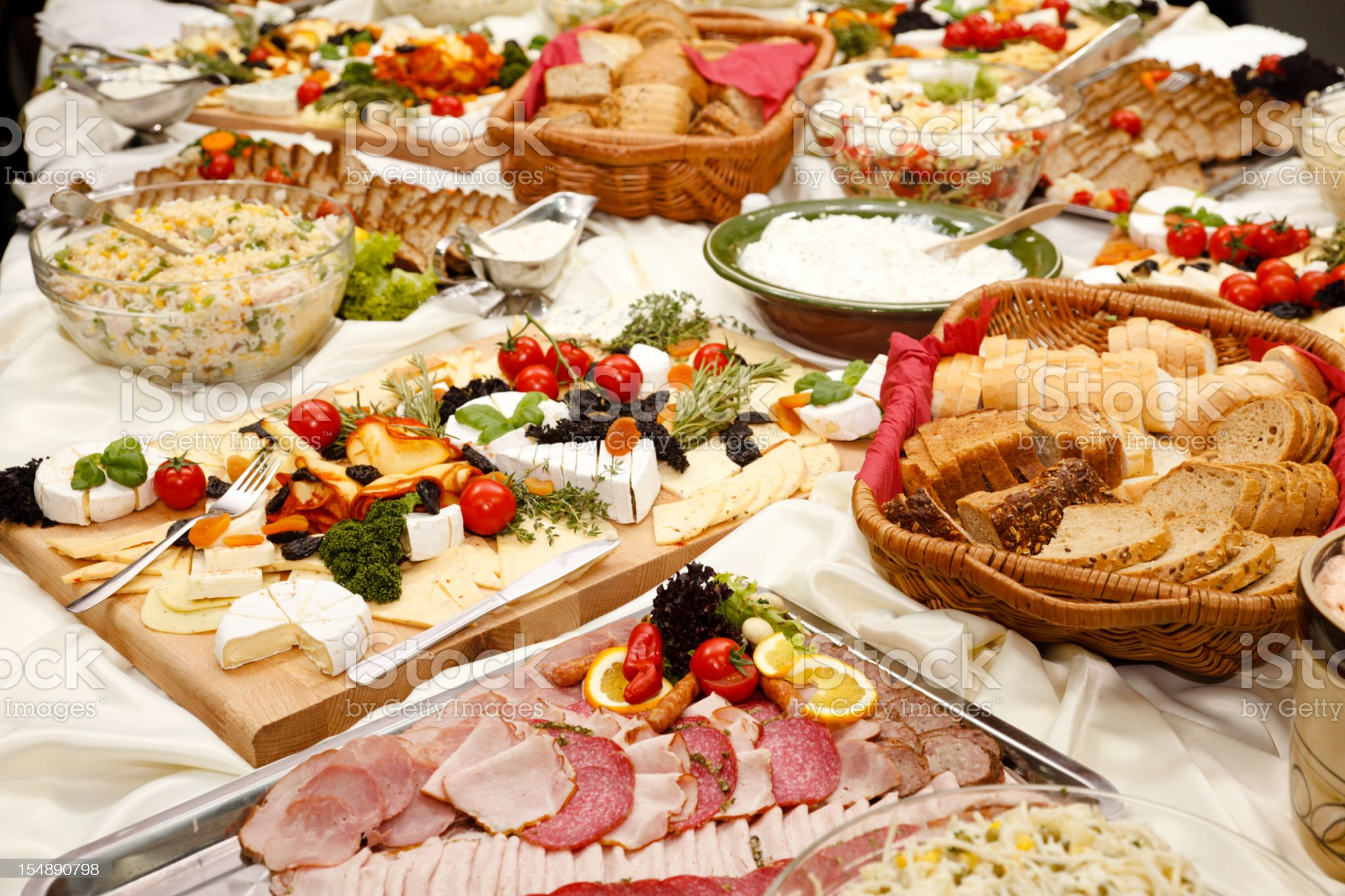 Catering table full of appetizing foods royalty-free stock photo