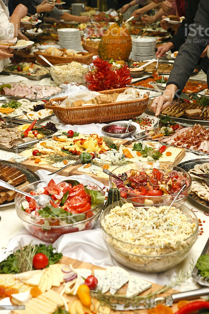 Catering table full of tasty food royalty-free stock photo