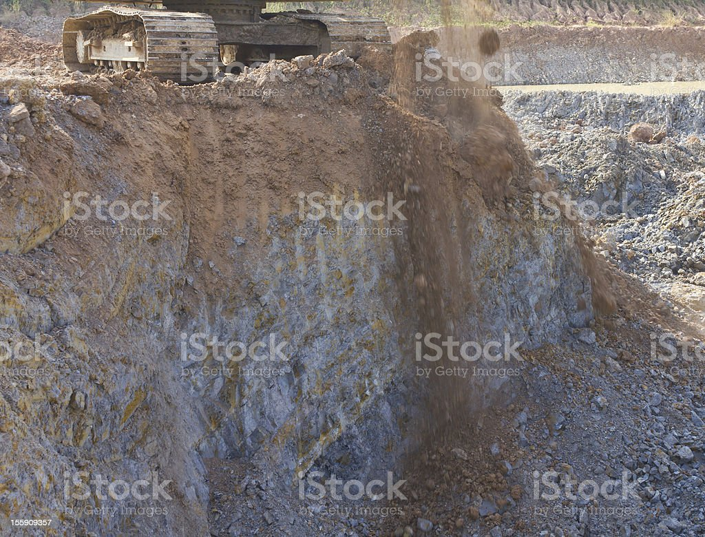 Caterpillar backhoe on the cliffs. royalty-free stock photo