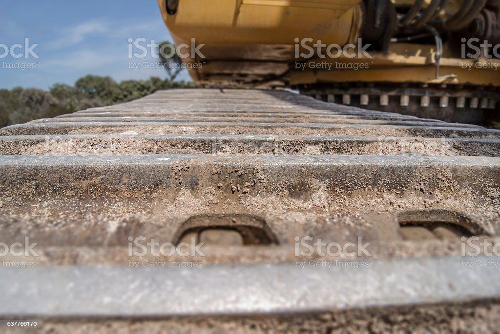 caterpillar of a digger stock photo
