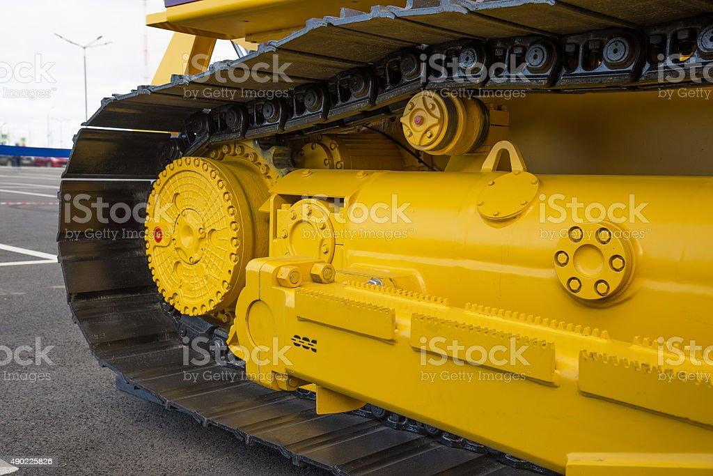 caterpillar of a large machine. stock photo