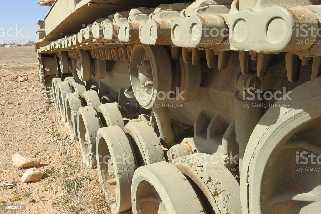 Caterpillar of tank stock photo