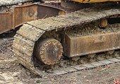 caterpillar of the excavator. Working outdoor Construction heavy