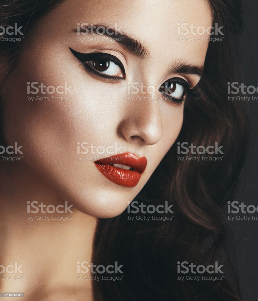 Cat-eye make up stock photo