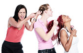 Catfight! Three angry women tearing out each other's hair