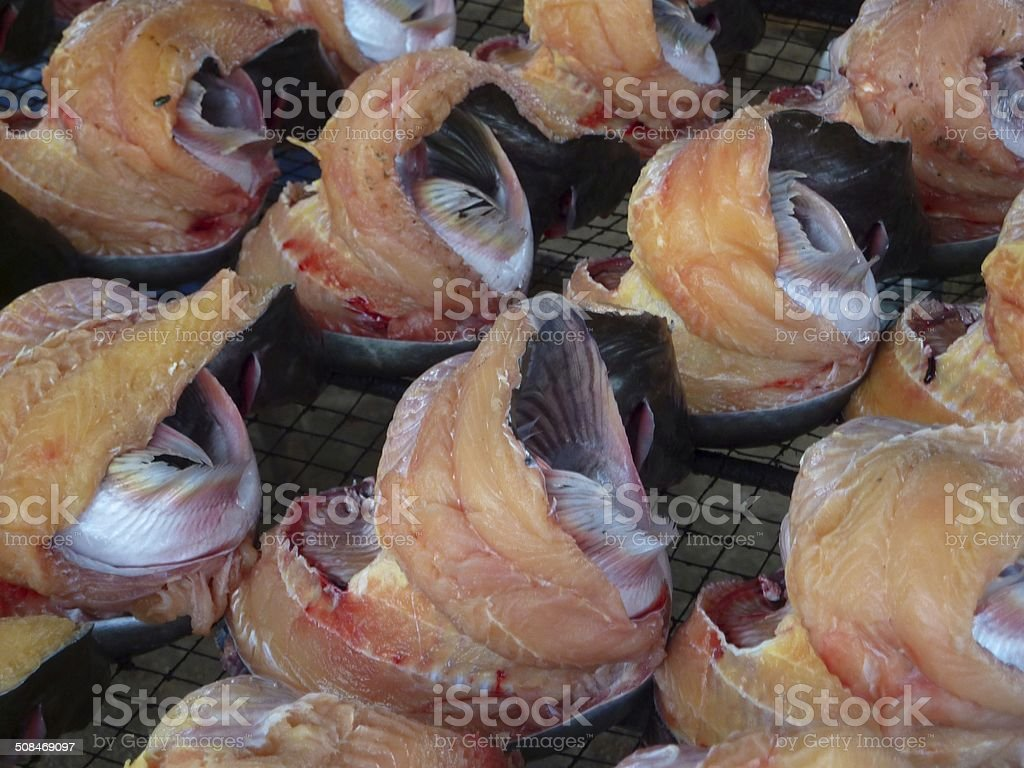 Catfish fillets on a cooking grate stock photo