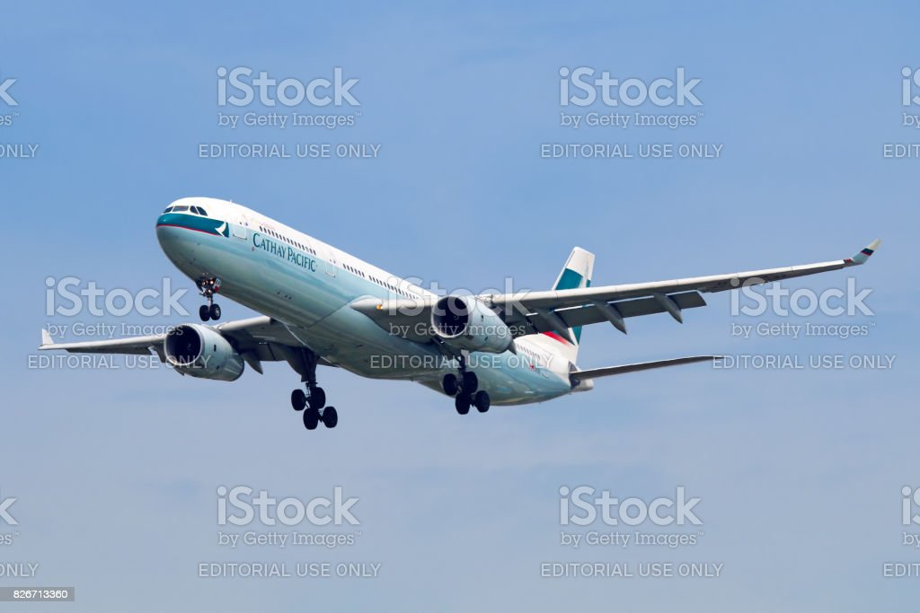 Cathay Pacific aircraft stock photo
