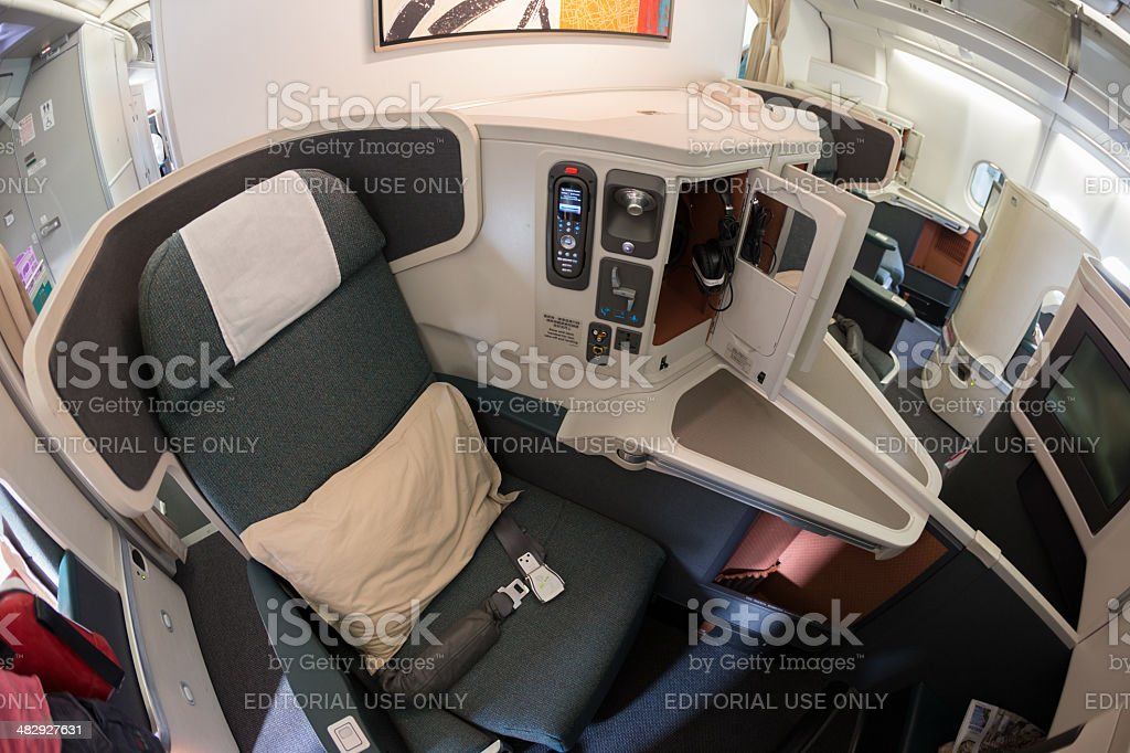 Cathay Pacific Business Class stock photo