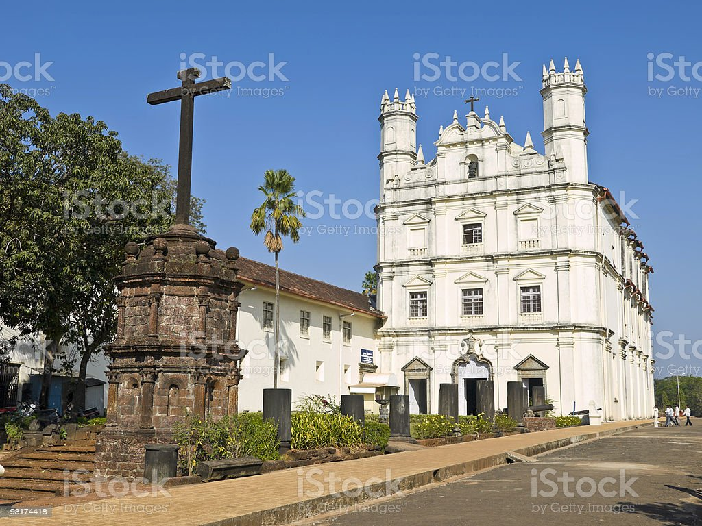 Cathederal in Old Goa stock photo