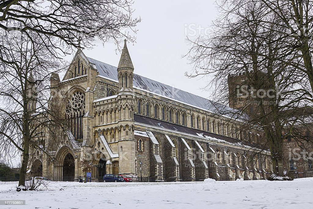 Cathedral and Abbey Church of Saint Alban in St.Albans, UK royalty-free stock photo