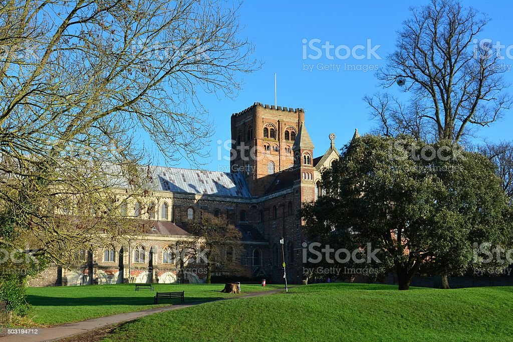 Cathedral and Abbey Church of Saint Albans stock photo