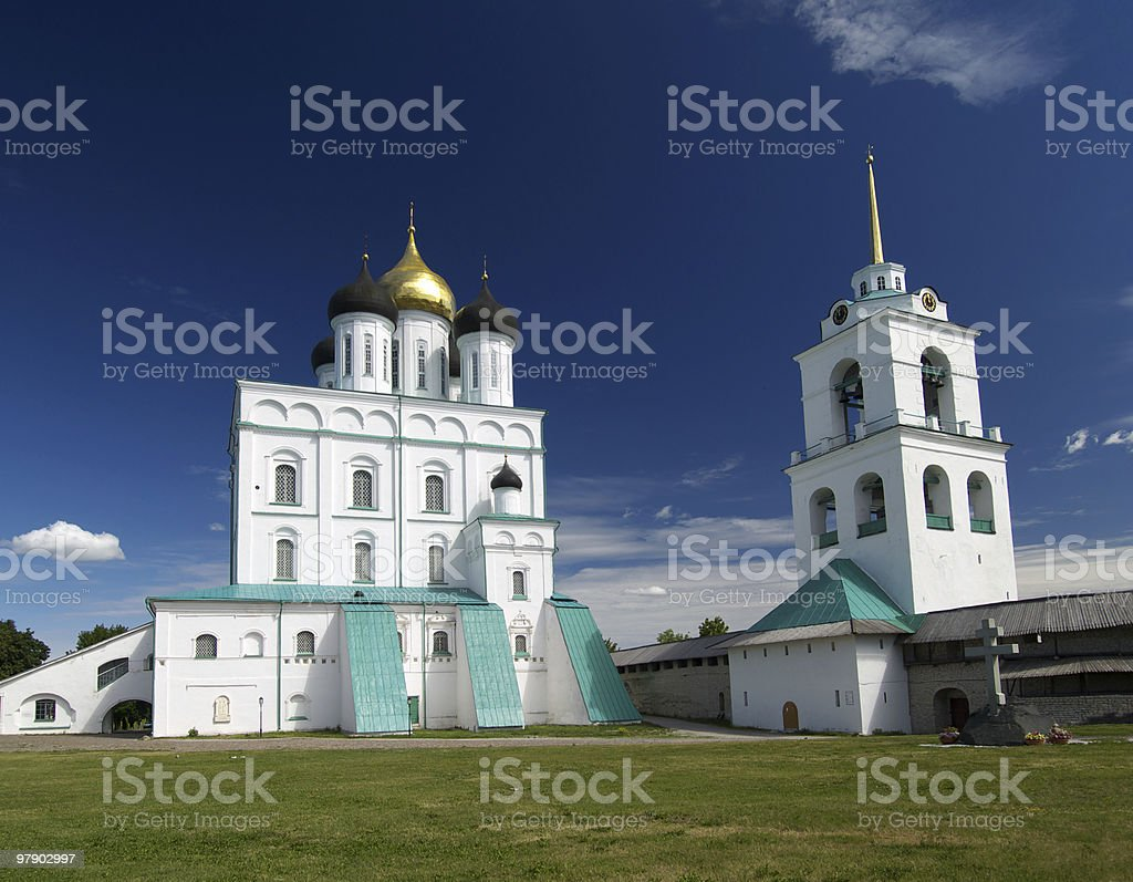 Cathedral and belfry royalty-free stock photo