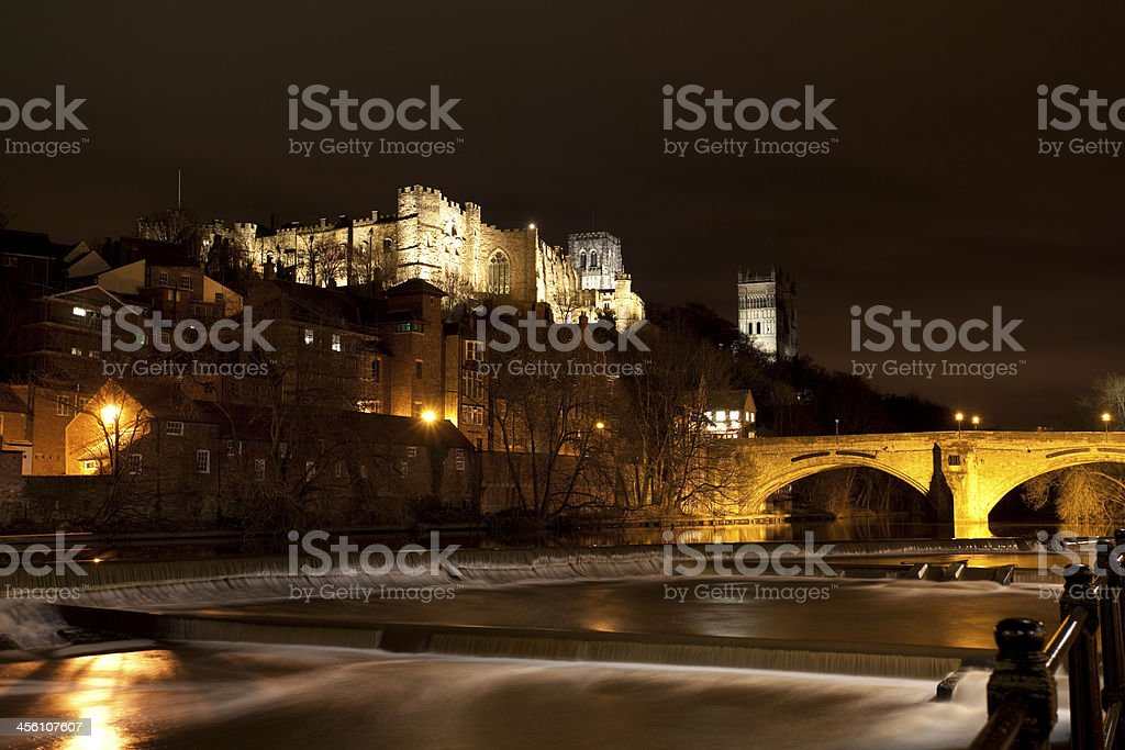 Cathedral and Bridge at night of Durham England stock photo