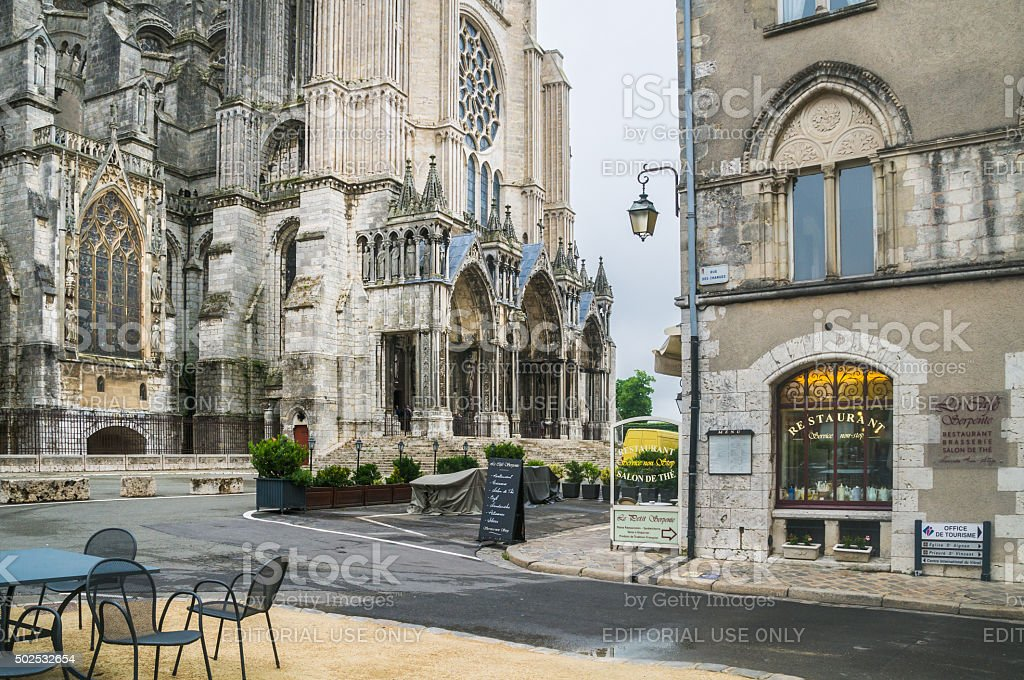 Cathedral and Cafe stock photo