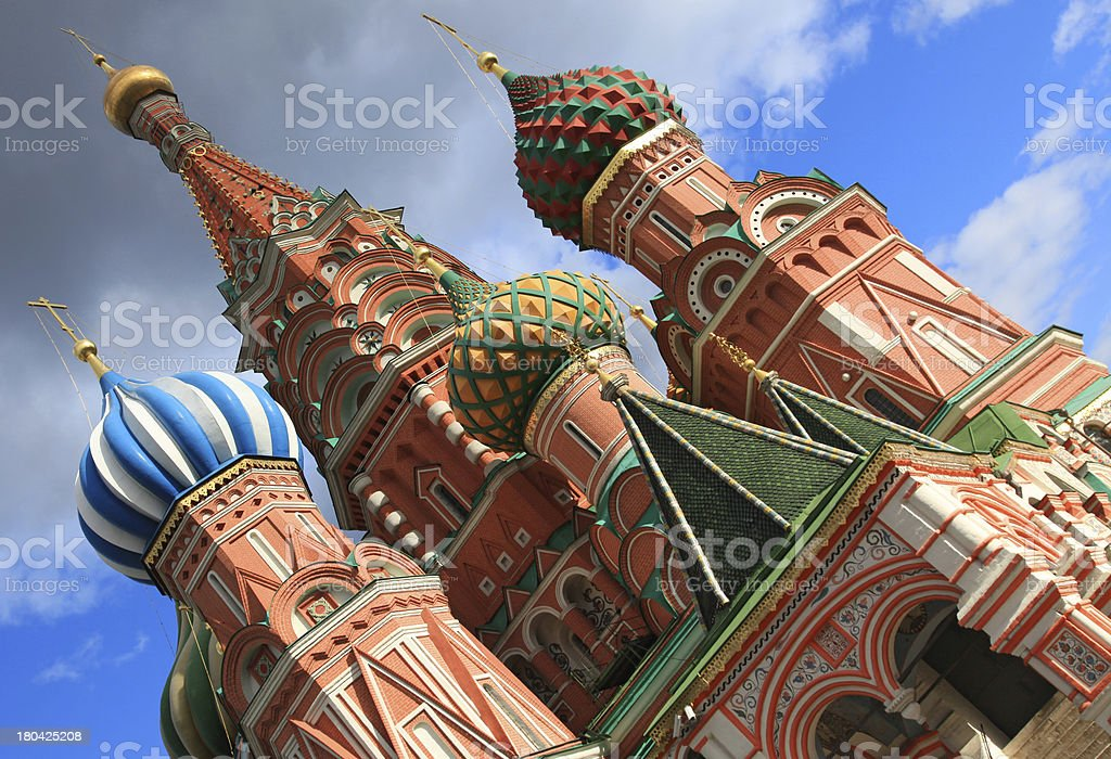 Cathedral and church of Saint Basil's in bright colors royalty-free stock photo