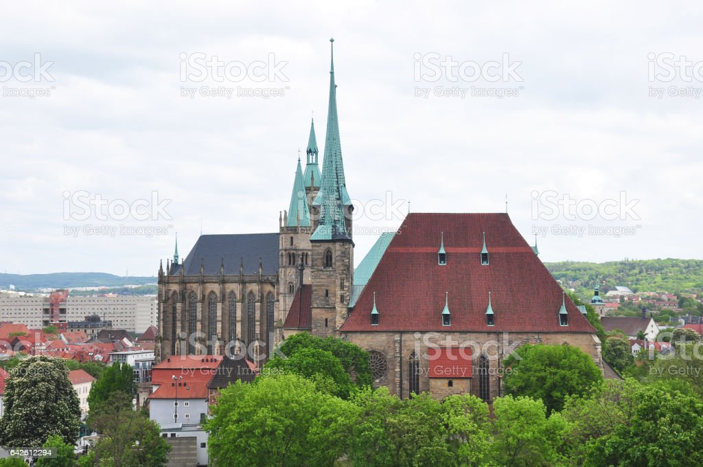 Cathedral and Church of Saint Severus in Erfurt stock photo