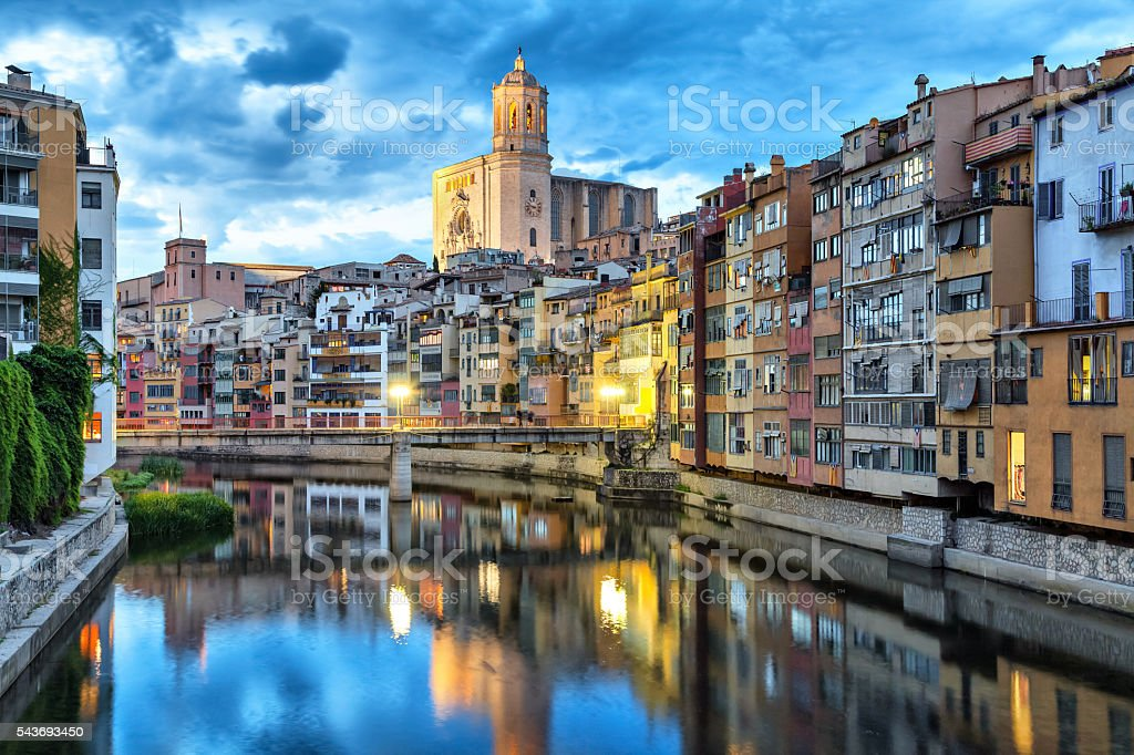 Cathedral and colorful houses in Girona stock photo