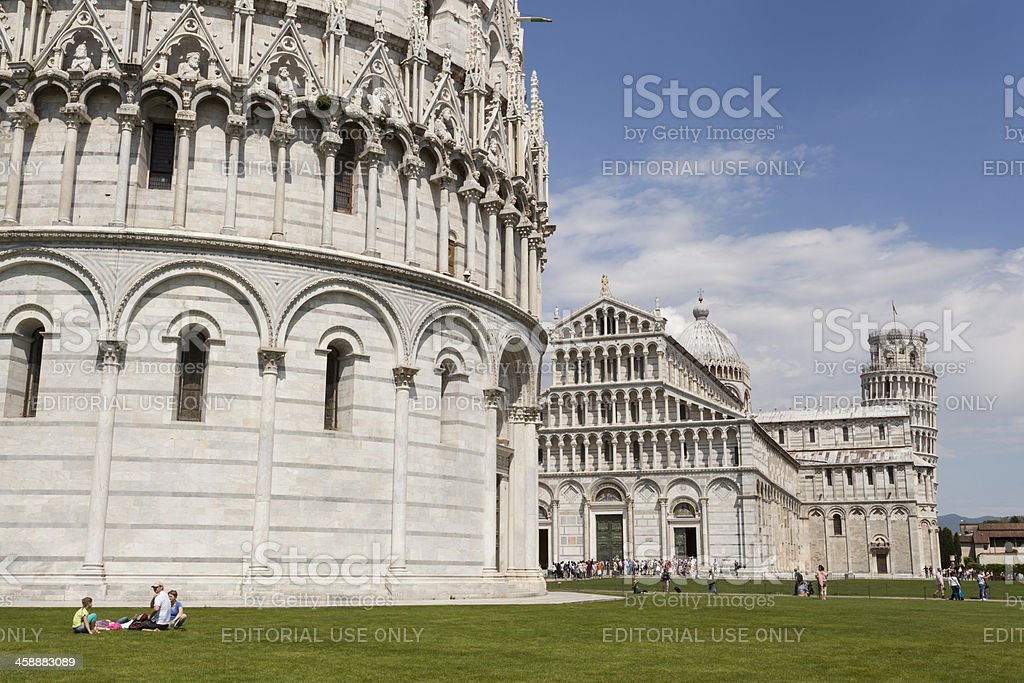 Cathedral and Leaning Tower of Pisa on Piazza dei Miracoli royalty-free stock photo