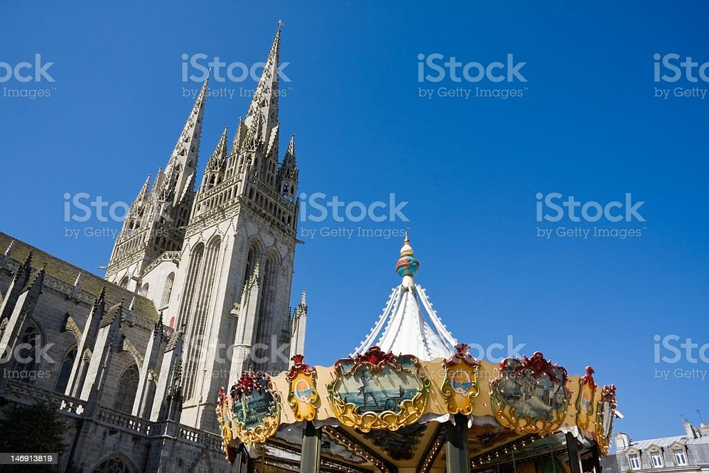 Cathedral and merry-go-round stock photo