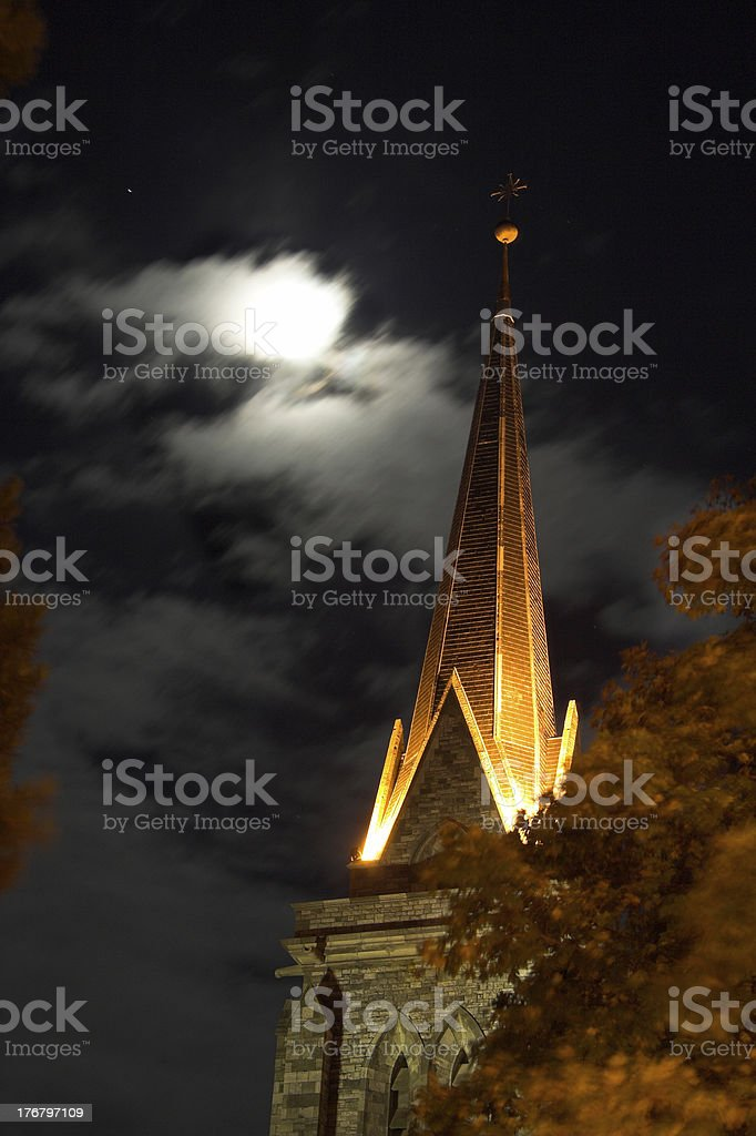 cathedral and moon royalty-free stock photo