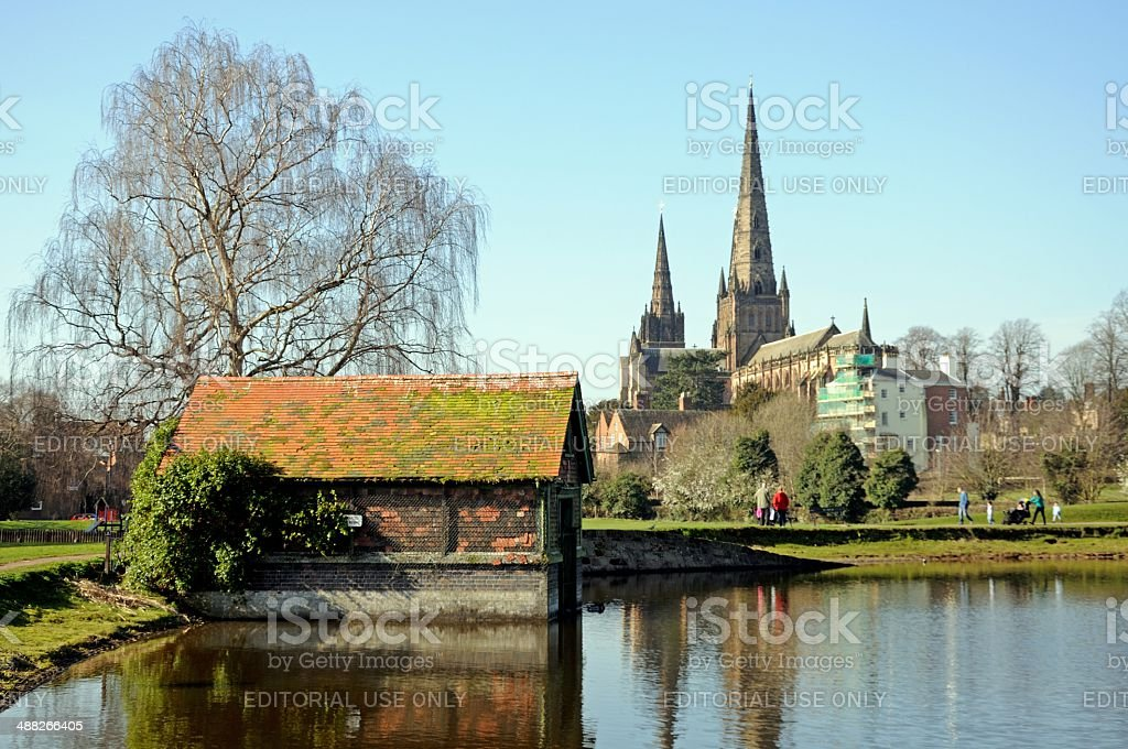 Cathedral and Stowe Pool, Lichfield, UK. stock photo