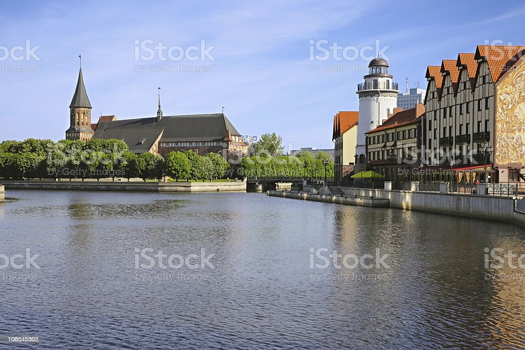 Cathedral and the quay by  lighthouse stock photo