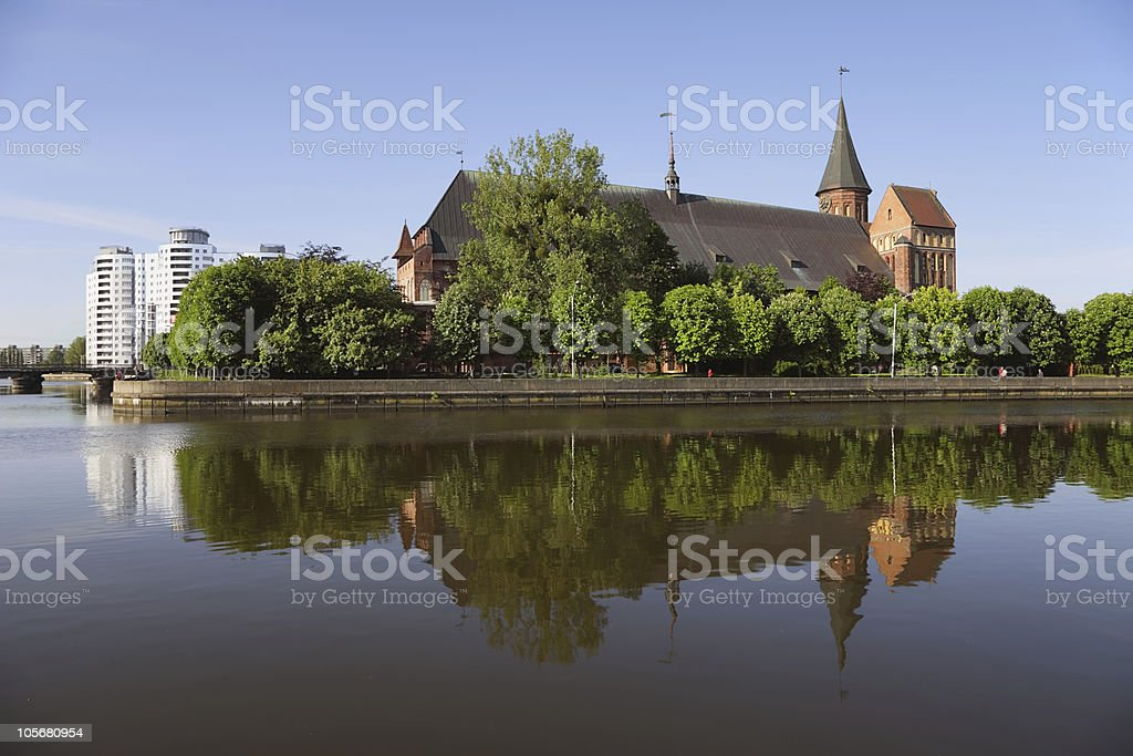 Cathedral and the river embankment Pregolya in Kaliningrad stock photo