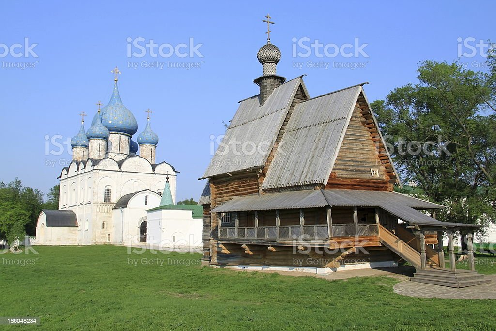 Cathedral and Wooden Orthodox Russian Church, Suzdal, Russia stock photo