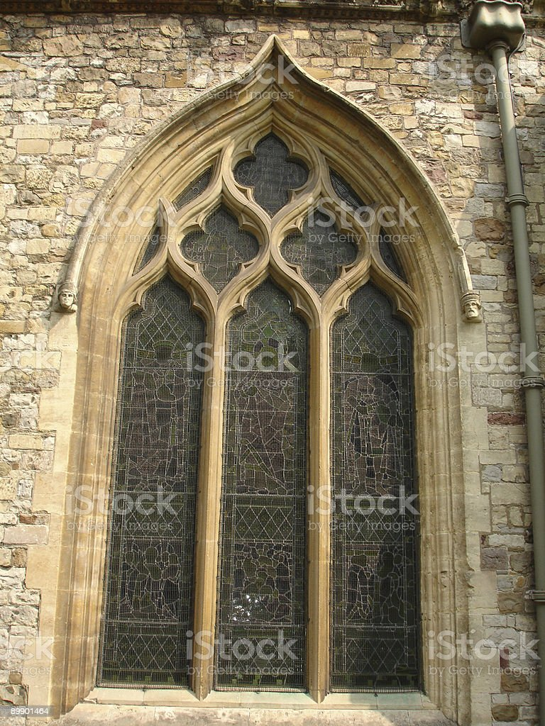 Cathedral arch window stock photo